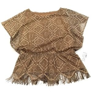Dressbarn Collection Gold Boho Lace Fringe Blouse